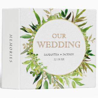 Greenery & Gold Leaf Framed Wedding Photo Album Binder