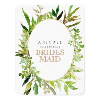 Greenery & Gold Leaf Framed Will You Be Bridesmaid Card