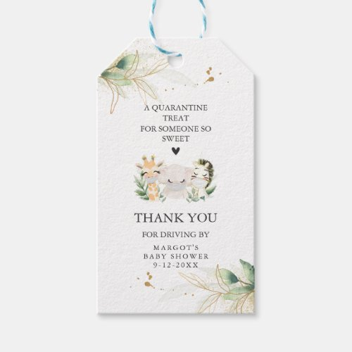 Greenery Gold Safari Animal Drive By Baby Shower Gift Tags