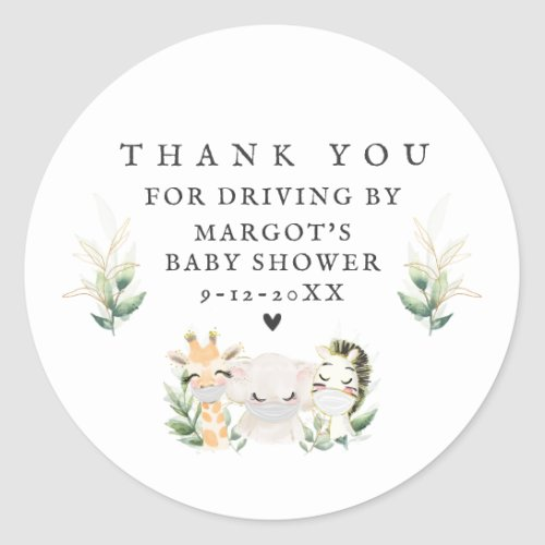 Greenery Gold Safari Animals Drive By Baby Shower Classic Round Sticker