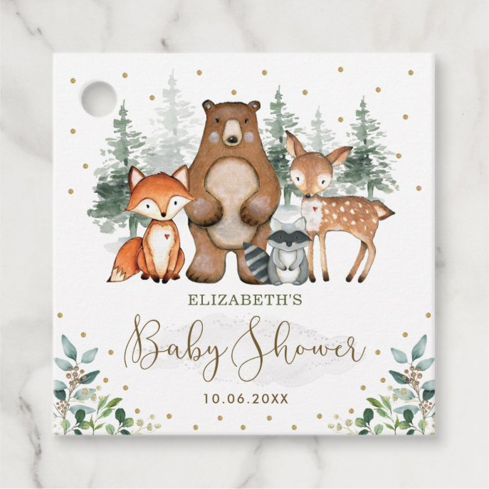 Greenery Gold Woodland Animals Forest Baby Shower Favor Tags