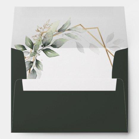 Greenery Green and Gold Geometric Rustic Wedding Envelope