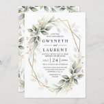 """Greenery Green and Gold Geometric Rustic Wedding Invitation<br><div class=""""desc"""">Design features watercolor airy mixed greenery foliage and branches in various shades of green with printed gold design leaf elements over a gold colored geometric frame.</div>"""