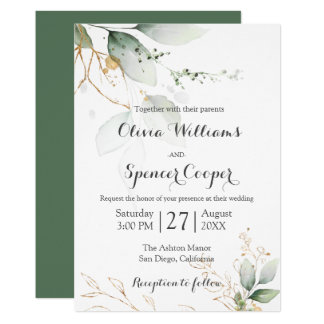 Greenery Green & Gold Nature Green Floral Wedding Invitation