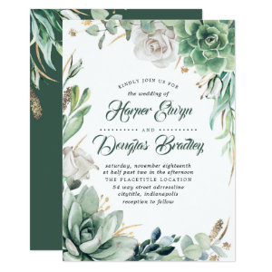 Greenery Green & Gold Succulent Wedding Invitations with Floral