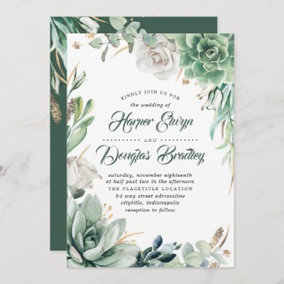 Greenery   Green & Gold   Succulent Floral Wedding Invitation