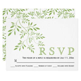 Greenery green leaves modern floral wedding RSVP Card