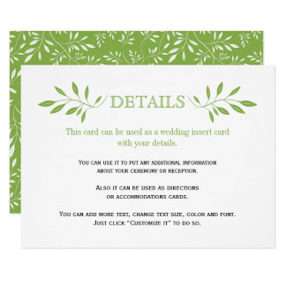 Greenery green leaves pattern wedding insert card