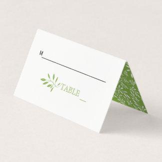 Greenery green leaves wedding folded escort place card