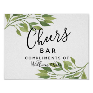 greenery green wedding  CHEER Bar wedding/party Poster