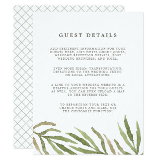 Greenery | Guest Details Enclosure Card