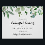 "Greenery Horizontal Rehearsal Dinner Welcome Sign<br><div class=""desc"">This greenery horizontal rehearsal dinner welcome sign is perfect for a rustic wedding rehearsal. The design features hand-painted artistic beautiful eucalyptus green leaves,  assembled into neat bouquets to embellish your event.</div>"