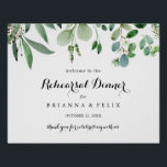 """Greenery Horizontal Rehearsal Dinner Welcome Sign<br><div class=""""desc"""">This greenery horizontal rehearsal dinner welcome sign is perfect for a rustic wedding rehearsal. The design features hand-painted artistic beautiful eucalyptus green leaves,  assembled into neat bouquets to embellish your event.</div>"""