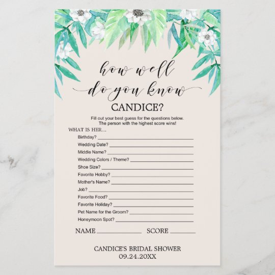 """Greenery """"How Well Do You Know The Bride"""" Game"""
