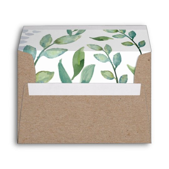 Greenery Kraft Envelope Zazzle Com