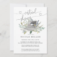 Greenery Laptop | Virtual Baby Shower Invitation