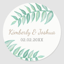 Greenery Laurel  Wedding Classic Round Sticker