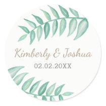 Greenery Laurel  Wedding Classic Round Sticker