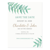 Greenery Laurel Wedding save the date Postcard
