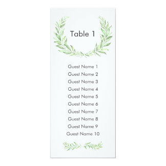 Greenery Laurel Wreath Guest Seating Plan Card
