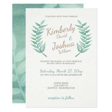 Greenery Laurel Wreath Wedding Invitation