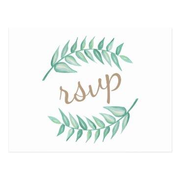 Greenery Laurel Wreath Wedding Invitation Postcard