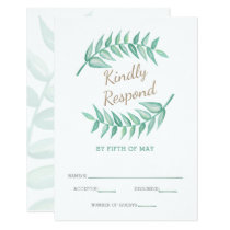 Greenery Laurel Wreath Wedding Invitation rsvp
