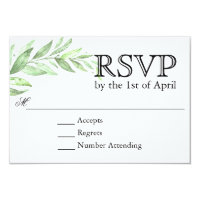 Greenery Laurel Wreath Wedding RSVP Card