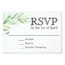 Greenery Laurel Wreath Wedding RSVP Card