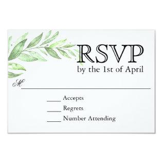 Greenery Laurel Wreath Wedding Rsvp Card at Zazzle