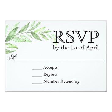 oasis_landing Greenery Laurel Wreath Wedding RSVP Card