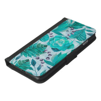 Greenery Leaf and Succulent iPhone 6/6s Plus Wallet Case