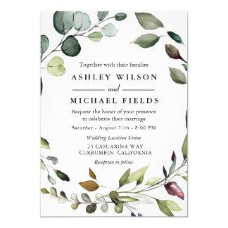 Greenery Leaf Wreath Watercolor Modern Wedding Invitation