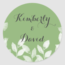 Greenery Leaves Botanical Wedding Classic Round Sticker