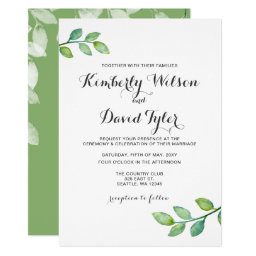 Greenery Leaves Botanical Wedding Invitations
