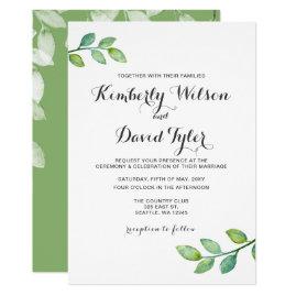 Greenery Leaves Botanical Wedding Invitations