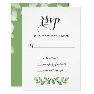 Greenery Leaves Botanical Wedding Invitations rsvp