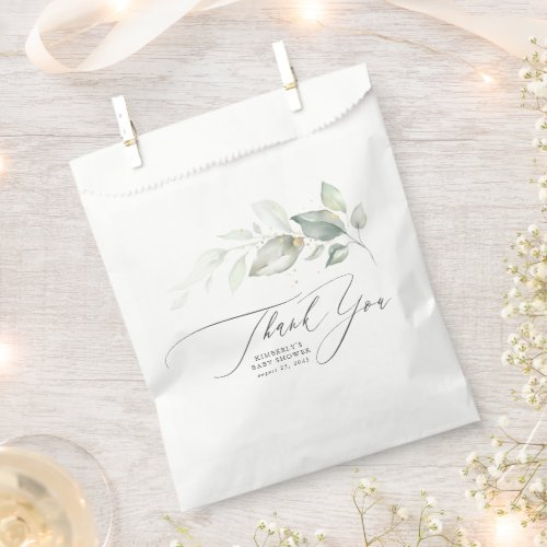 Greenery Leaves Elegant Script Thank You Favor Bag