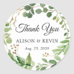 """Greenery Leaves Wreath Wedding Favor Thank You Classic Round Sticker<br><div class=""""desc"""">Eucalyptus Greenery Foliage Leaves Wreath Wedding Favor Thank You Sticker</div>"""