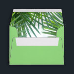 """Greenery Lined Self-Addressed RSVP Card Envelope<br><div class=""""desc"""">A beautiful watercolor design depicts tropical foliage in shades of green inside this lined self-addressed RSVP card greenery envelope. You can choose a different color for the exterior if you prefer.</div>"""