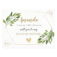 Greenery Maid of Honor or BRIDESMAID proposal Postcard