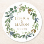 """Greenery Navy Wedding Coasters<br><div class=""""desc"""">This lovely coaster design features rustic greenery with navy sprigs. Easily edit the names and date!  See all of our matching items here: https://www.zazzle.com/collections/greenery_navy_gold-119571719742463707?rf=238534829419020154</div>"""