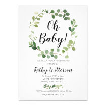 greenery oh baby shower invitation