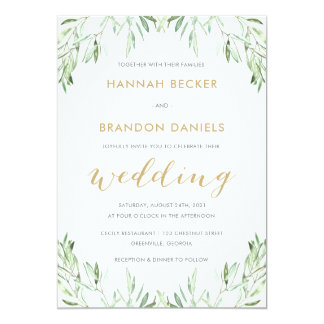Greenery Olive Branch Modern Wedding Invitation