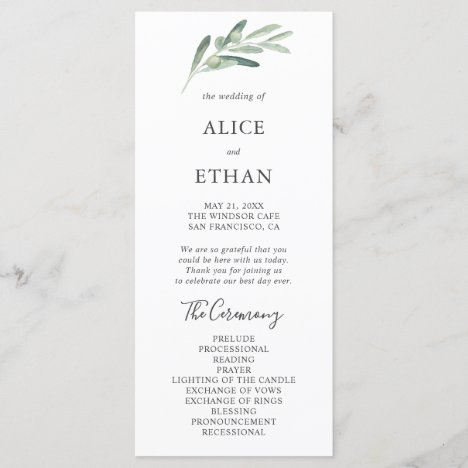 Greenery Olive Wedding Program