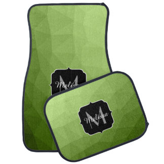 Greenery ombre gradient geometric mesh Monogram Car Floor Mat