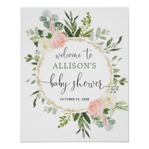 Greenery pink girl baby shower welcome sign