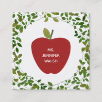 Greenery Red Apple Teacher Square Business Card