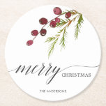 """Greenery Red Berries Holiday Round Paper Coaster<br><div class=""""desc"""">This holiday paper coaster features painted watercolor red berries and pine branch with the words """"Merry Christmas"""".  Personalized this by adding your own text.</div>"""
