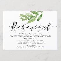 Greenery Rustic Wedding Rehearsal and Dinner Invitation